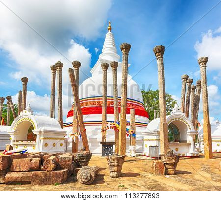Thuparamaya dagoba in the sacred world heritage city of Anuradhapura, Sri Lanka.