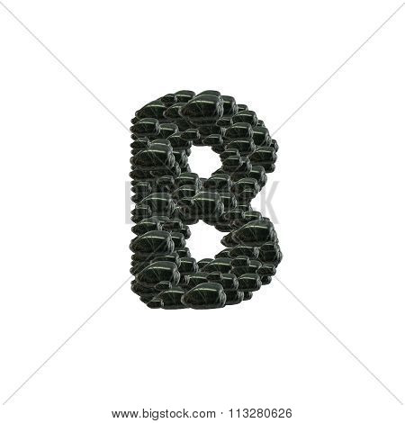 Closeup Pile Of Black Stone In B English Alphabet Isolated On White Background