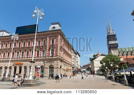 Buildings In The City Center Of Zagreb, Croatia. Architecture Of The City.
