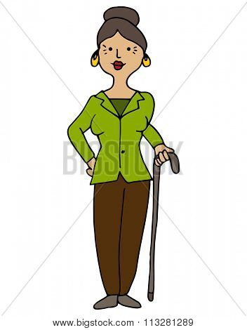 An image of a disabled hispanic female with cane.
