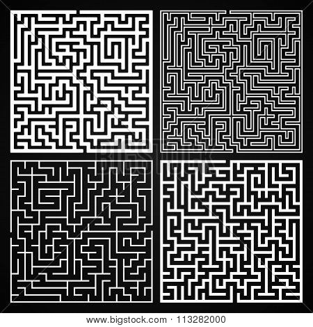 Vector Maze Set. Labyrinth With Entry And Exit.