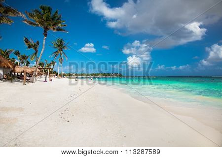 Beautiful white sand beach in Akumal, Mexico. Latin America.
