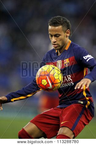 BARCELONA - JAN, 2: Neymar da Silva of FC Barcelona during a Spanish League match against RCD Espanyol at the Power8 stadium on January 2, 2016 in Barcelona, Spain