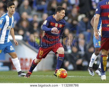 BARCELONA - JAN, 2: Leo Messi of FC Barcelona during a Spanish League match against RCD Espanyol at the Power8 stadium on January 2, 2016 in Barcelona, Spain