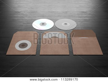 Mock Up Of Cardboard Packaging For A Compact Disk. 3D Rendering.
