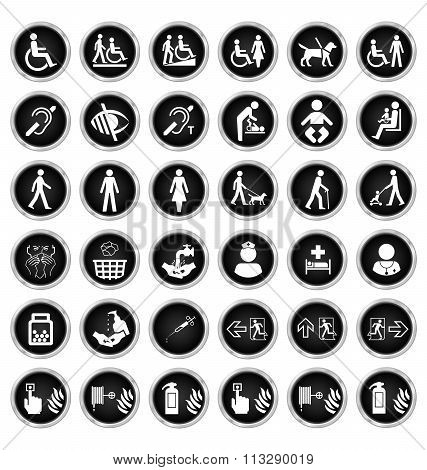 Disability people and medical Icon collection