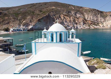 Blue White Orthodox Church At Firopotamos, Milos Island, Cyclades, Greece