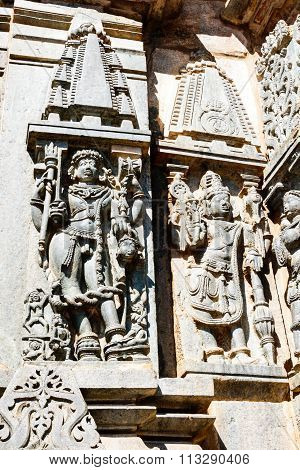 Artistic sculpture depicting Lord Bhairav & Vishnu at Chennakesava temple at Belur