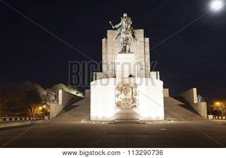 PRAGUE, CZECH REPUBLIC - DECEMBER 21, 2015: Photo of Equestrian statue of Jan Zizka on Vitkov Hill.