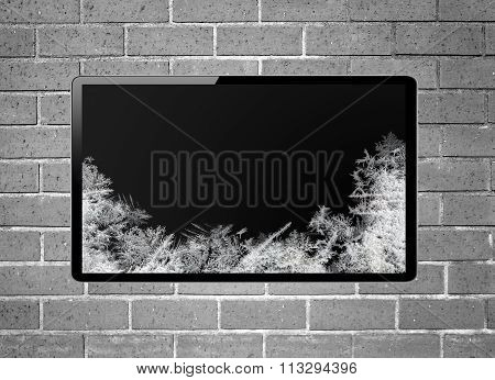 Blank Screen Lcd Tv With Frost Screen Hanging On A Wall