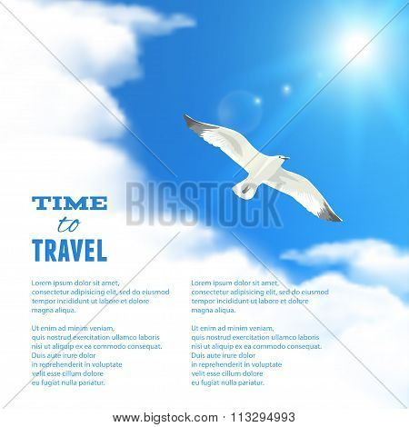 Cloudscape With Seagull. Vector Illustration, Eps10, Editable.