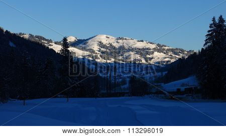 Rellerli On A Winter Morning, Mountain In Gstaad