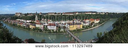 View to Burghausen and Salzach river in Bavaria, Germany