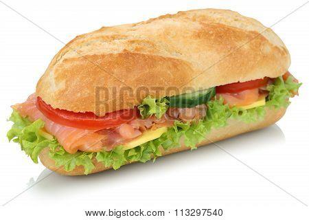 Sub Deli Sandwich Baguette With Salmon Fish Isolated