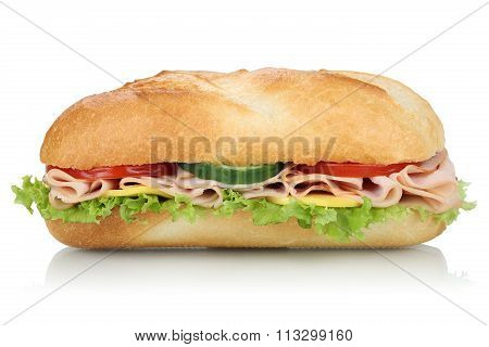 Sub Deli Sandwich Baguette With Ham Side View Isolated