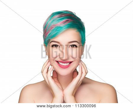 Woman with natural make-up and multi-coloured strand in hair isolated