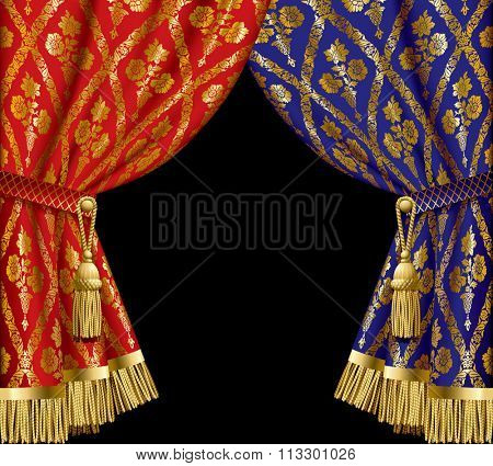 Blue and red drapes with gold vintage ornament on black background.  Vector illustration