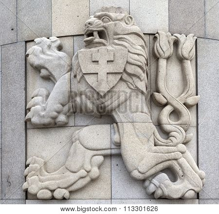 PRAGUE, CZECH REPUBLIC - DECEMBER 22, 2015: Photo of Emblem of the Czechoslovak Republic.