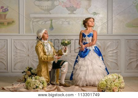 Boy and girl  in a beautiful dress