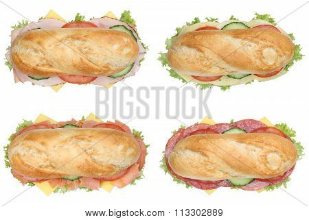 Collection Of Sub Deli Sandwiches Baguettes With Salami, Ham And Cheese Top View Isolated