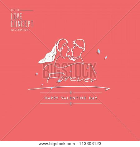 Type Design About Love For Invitation Card Or Other Flat Vector.