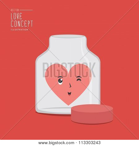 Happy Heart Has Face And Glass Storage Jar Flat Vector.