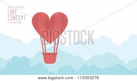 Heart Balloon Floating In The Sky Freely And Clouds Flat Vector.