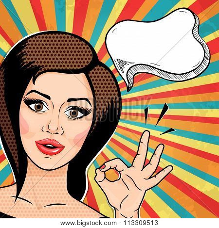 Retro Pop Art Young Woman Thinking And Showing Ok Hand Sign. Brunette Woman Smiling Showing Okay