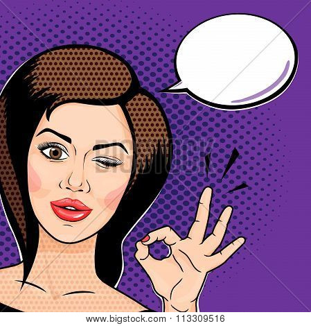 Vector Pop Art Comics Style Playful Young Woman Winking And Showing Ok Sign, Thinking Bubble