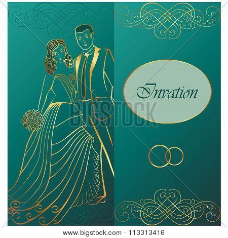 Newlyweds. Wedding invitation.