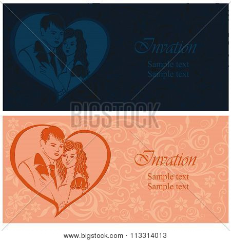 Newlyweds. Lovers in a heart. Wedding invitation.