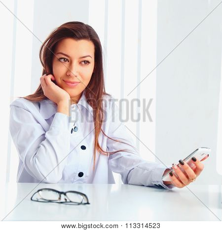 Conceived Business Woman With Phone In Hand