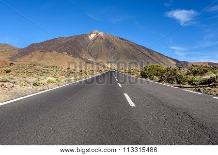 Open road on Tenerife.  Beautiful landscape on Tenerife showing the volcano Tiede.
