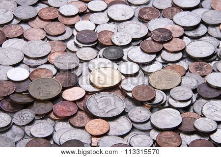 US currency coins on a flat surface
