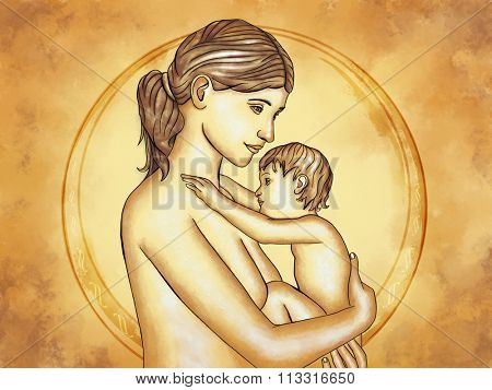 Mother and child hugging. Digital illustration.