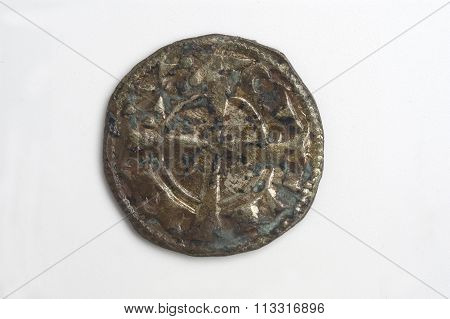 Medival Coin Of Spain, Alfonso I, Dinero