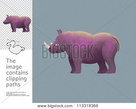 The illustration of a toy rhinoceros.  A part of Dodo collection - a set of educational cards for children. The image has clipping paths and you can cut the image from the background.