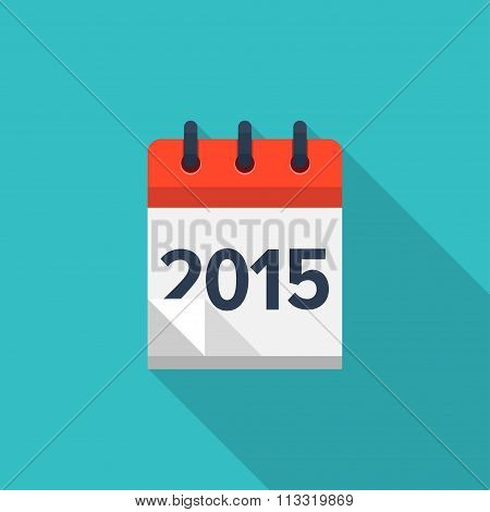 Flat calendar icon. Date and time background. New year. 2015.