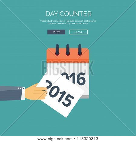 Flat calendar icon. Date and time background. New year. 2016, 2015.