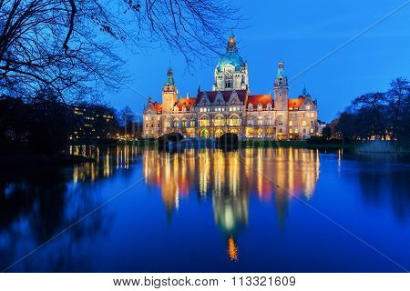 New City Hall in Hanover, Germany, at night