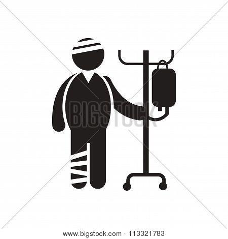 stylish black and white icon bandaged man