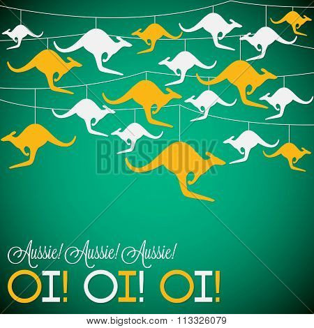 Kangaroo Ornament Australia Day Card In Vector Format.