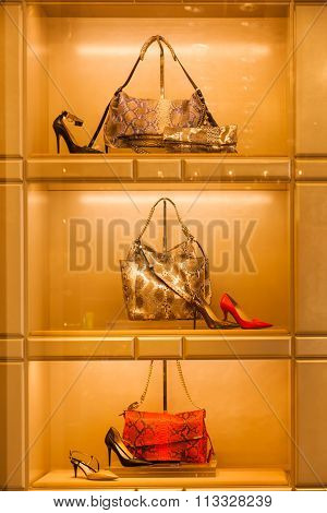 MILAN, ITALY - FEBRUARY 23: window display of a Jimmy Choo store on February 23, 2014 in Milan. Jimmy Choo is a Malaysian fashion designer and he is well known for his expensive high end shoes.