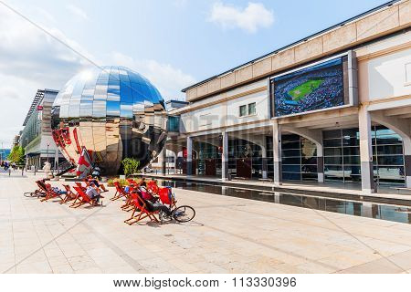 BRISTOL, ENGLAND - JULY 08, 2015: At-Bristol on the Millenium Square, with unidentified people. Its a science centre and charity with stated aim to make science accessible to all