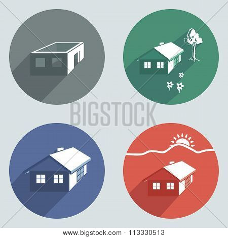 House building icon set. Cottage, apartment buttons. Complete, incomplete project symbols. Round col