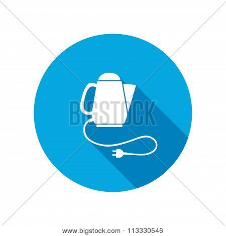 Home electric kettle. Kitchen equipment, two-pin plug. Round circle flat icon with long shadow. Vect