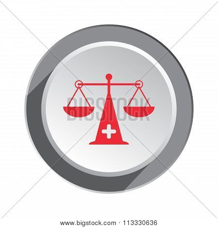 Scales, weigher icon. Medical instrument, weight, balance symbol. Red sign on white-gray button with