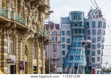 PRAGUE, CZECHIA - SEPTEMBER 03: Dancing House on September 03, 2014 in Prague. The Dancing House also called Fred and Ginger was designed 1992 by Vlado Milunic and Frank Gehry and completed 1996