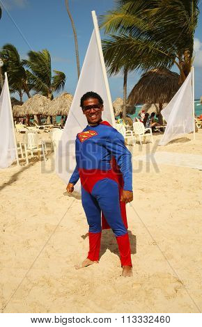 Member of  Majestic Elegance Punta Cana entertainment team on the beach in Punta Cana