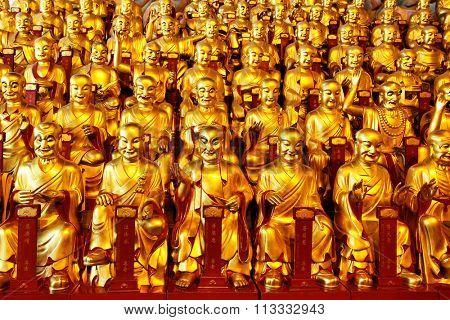 Gilt figurines of the Lohans, China